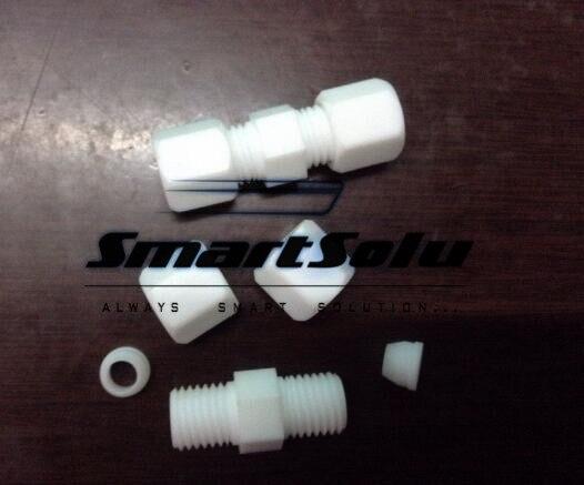 Free shipping 10pcs/lot PTFE straight fittings O.D. 10mm-10mm tube plastic fittings