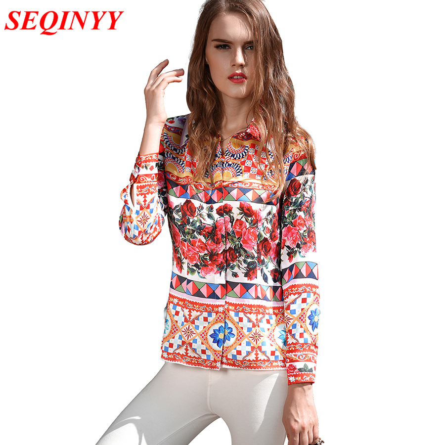 Beautiful Blouse 2017 Autumn Fashion Luxury Print Women High Quality Ladies Casual Turn Down Collar Brand