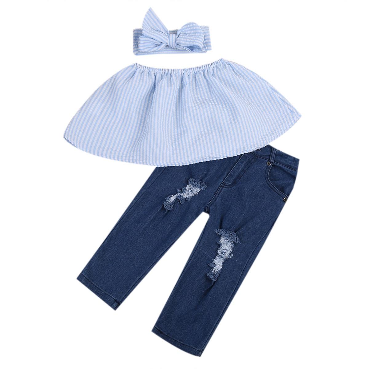 Summer 2017 Fashion Kids Girls Clothing Set Striped Crop Tops Tank+Hole Jean Denim Pant Headband Outfits Children Clothing 1-7Y