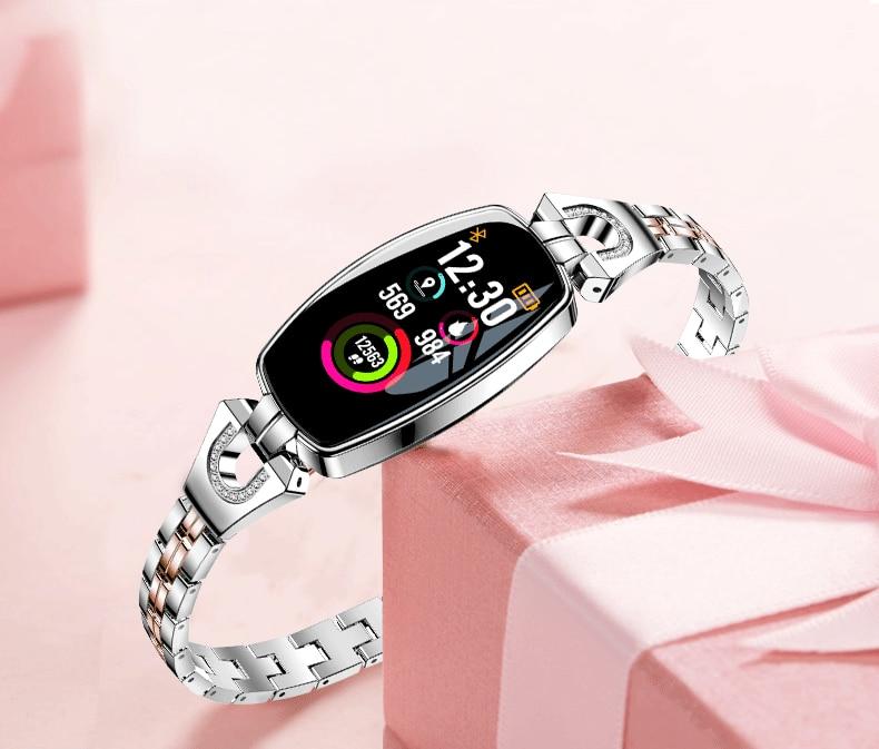 IP67 H8 Women Fashion Smart Wristband Heart Rate Blood Pressure Smart Bracelet Fitness Tracker Smart Watch Women Reloj Mujer 27