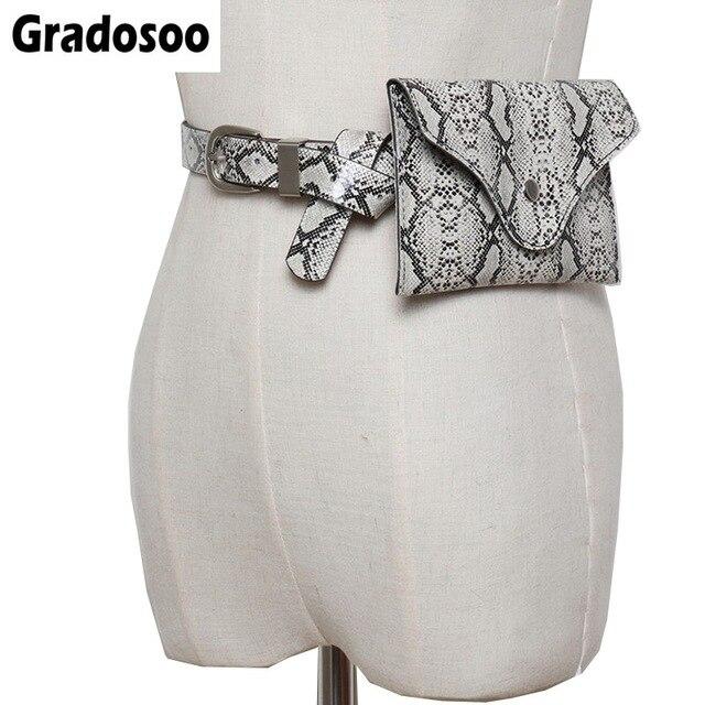 Gradosoo Classic Serpentine Waist Bag Women Fashion PU Leather Fanny Pack Female Belt Bag Small Phone Pouch Brand Bags LBF208