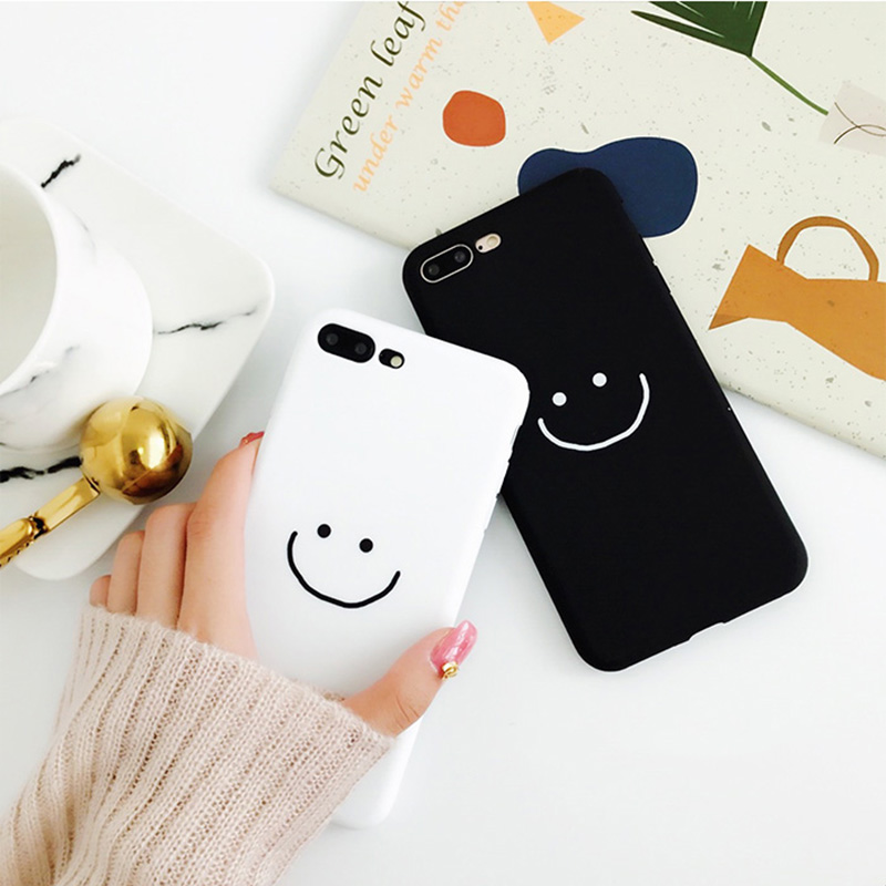 B&E White Smile lovers for iPhone 7 case simple 6s 8Plus cute silicone back cover for Apple iPhone 6/7Plus anti knock TPU black