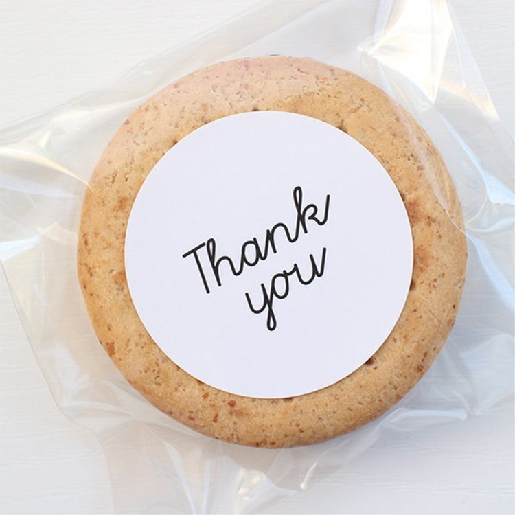 60Pcs Round White Thank You 5cm Cake Packaging Sealing Label Kraft Sticker Baking DIY Gift Stickers