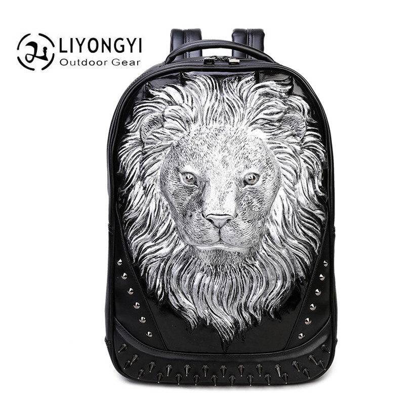 Fashion Personality 3D Lion Crown PU Leather backpack Cool School Bags Backpack Men Travel Bag For Teenagers Boys mochila male children school bag minecraft cartoon backpack pupils printing school bags hot game backpacks for boys and girls mochila escolar