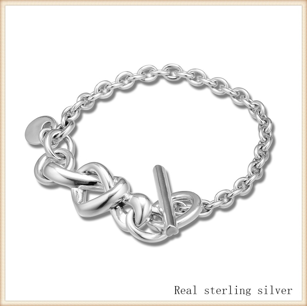 Bangle 100% 925 Sterling Silver Knotted Heart Bracelet Bangle Fit Charm Beads DIY Fine Jewelry SLB078Bangle 100% 925 Sterling Silver Knotted Heart Bracelet Bangle Fit Charm Beads DIY Fine Jewelry SLB078