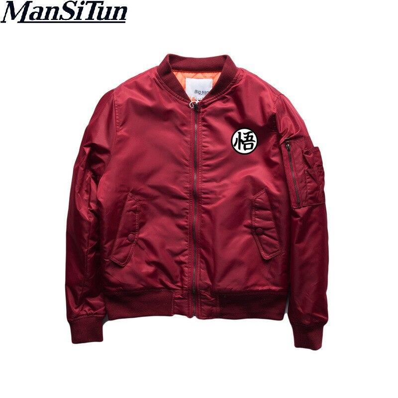 Man Si Tun Dargon Ball Z Autumn Winter Hanzi Goku Printed Jacket Men Casual 2018 New Brand Men Coats Outerwear Bomber Jackets