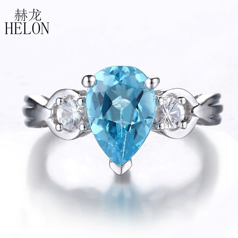 HELON SOLID 10K White Gold Certified Pear 10x7mm Blue Topaz Ring For Women White Topaz Gemstone Ring Exquisite Trendy Jewelry