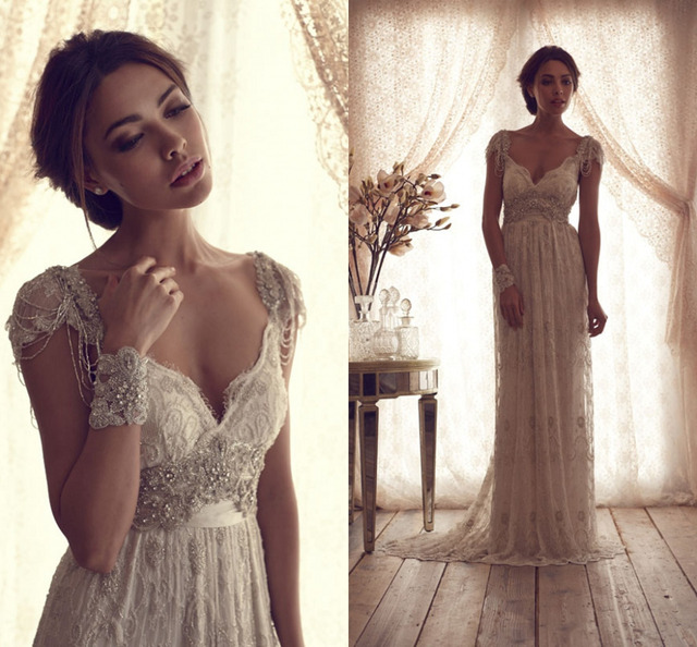 Romantische Eine Linie Flugelarmeln Vintage Brautkleider 2015 Mode