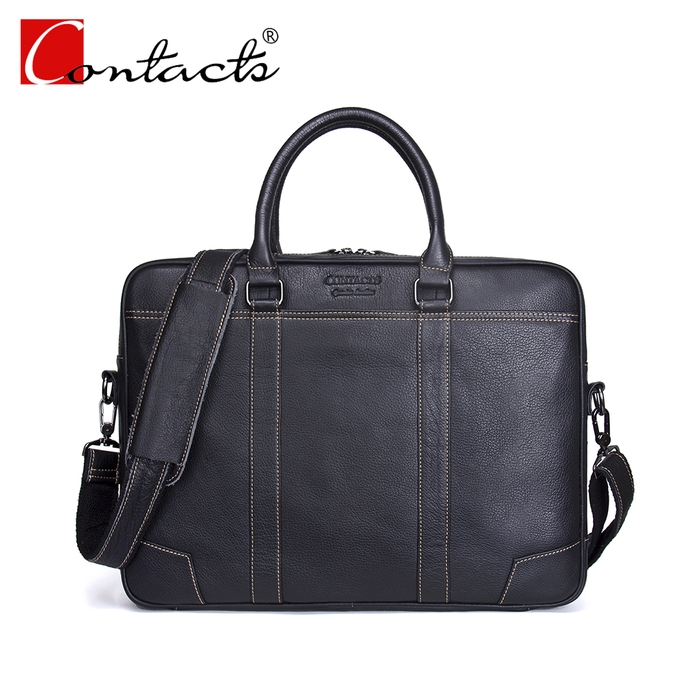 CONTACT'S Genuine Leather Men Bag Travel bag Handbag Man Shoulder Crossbody Bags Solid Fashion Briefcase Laptop Bag High Quality грэй дж марс и венера вместе навсегда как сберечь любовь
