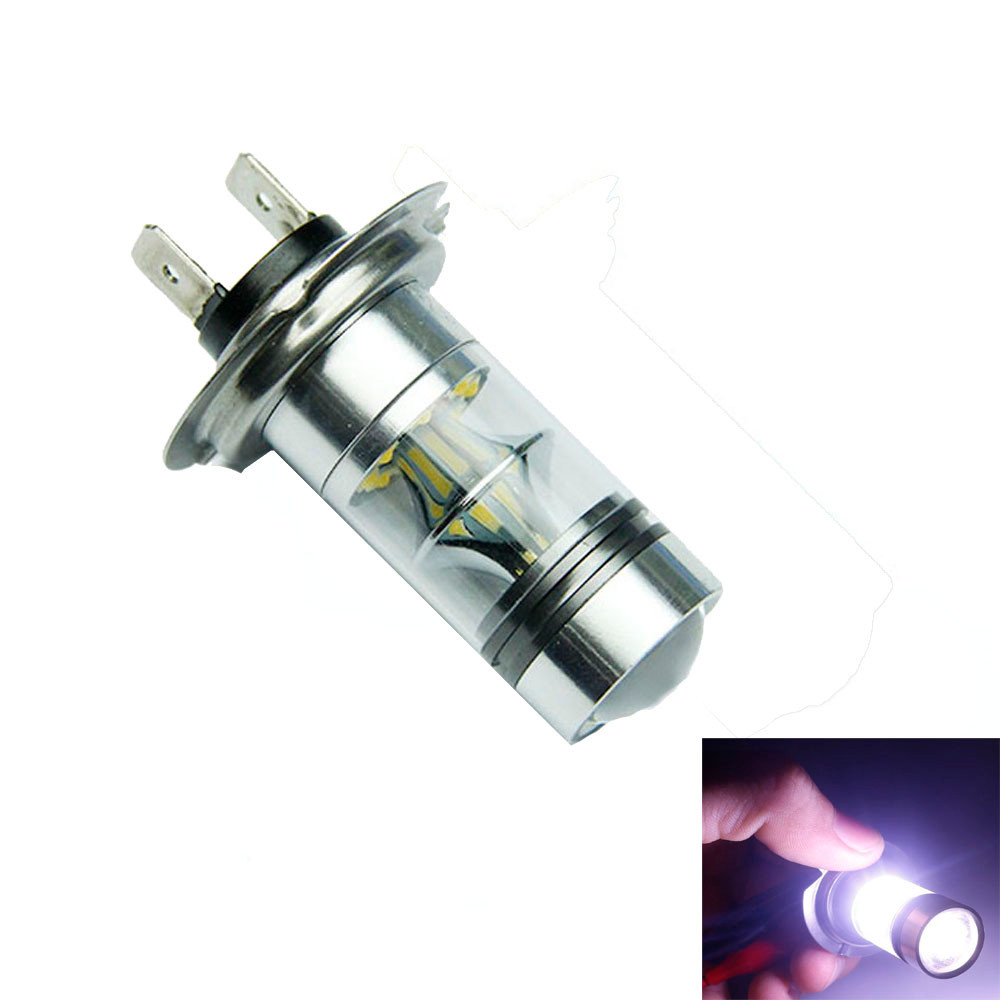 2016 New H7 6000K 100W LED 20-SMD Cree Chips Projector Fog Driving DRL Light Bulbs HID White Wholesale new 1pc h4 100w led 20 smd projector fog driving drl light bulbs hid 6000k white light c45