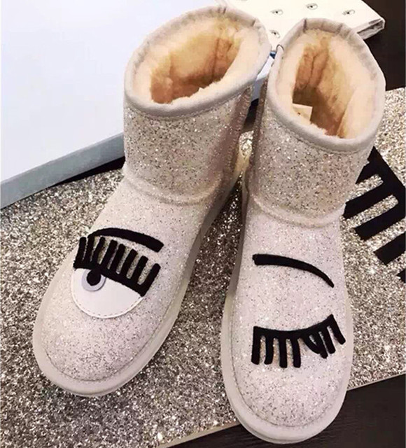 e7b095112a8 New Arrival Black White Silver Bling Women s Winter Snow Boots Slip On Flat  Shoes Woman Warm Zapatos Mujer Fashion Booties 2016-in Snow Boots from ...