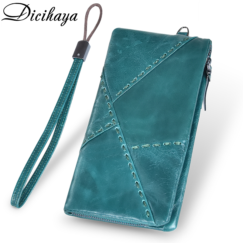 DICIHAYA Women Wallets Genuine Leather Long Style Card Holder Purse Quality Zipper Large Capacity Brand Luxury Wallet For Men
