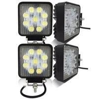 27w 4PCS 4 Inch Spot Beam Square LED Work Light Waterproof Driving Light Fog Light For