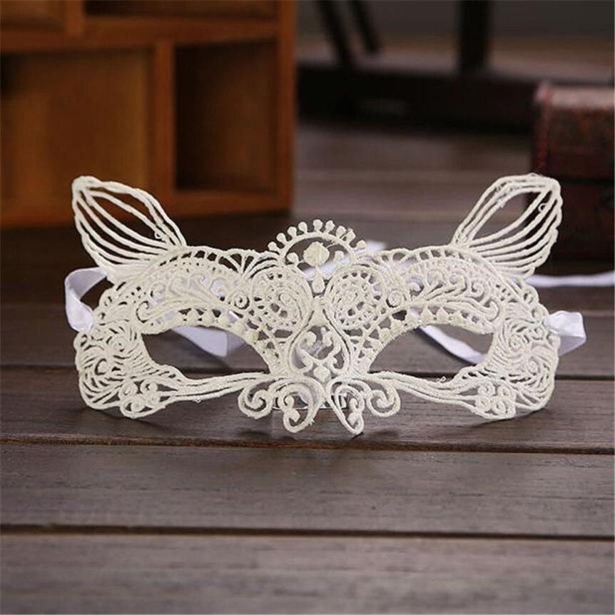 Cat Black White Lace Halloween Masquerade Mask