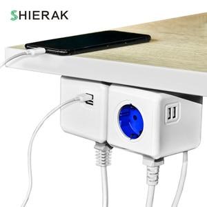 Image 4 - SHIERAK חכם בית כוח קוביית שקע האיחוד האירופי Plug 4 חנויות 2 USB יציאות מפצל מתאם הארכת מתאם רב להעביר שקעי