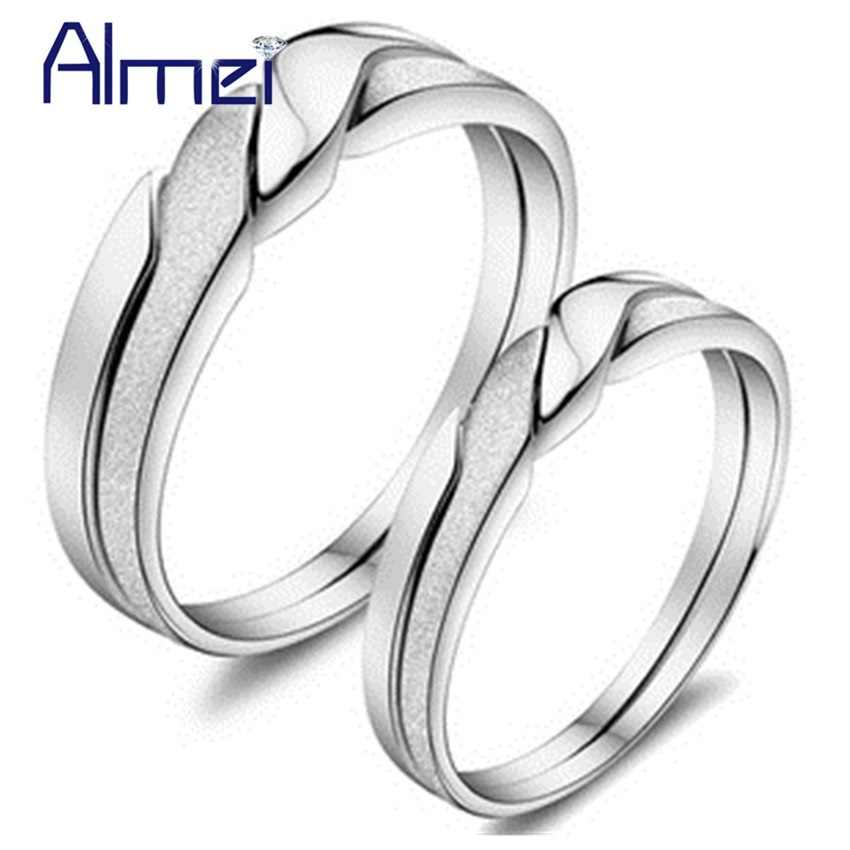 Almei จีนคู่แหวนผู้ชายผู้หญิงของขวัญเงินเครื่องประดับงานแต่งงาน Alliance Mariage คู่แหวน Anillos Anel เครื่องประดับ j051