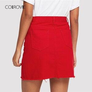Image 2 - COLROVIE Verzwakte Hem Pockets Denim Rok Lente Rode Ripped Mid Taille Girly Casual Mini Rok Zomer EEN Lijn Basic Vrouwen rok