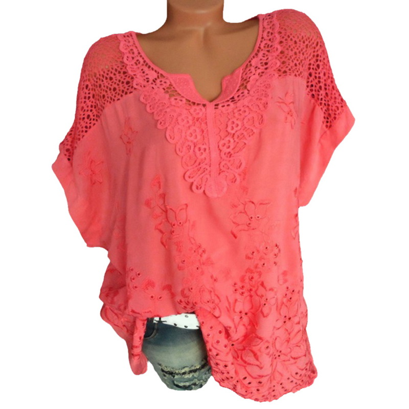 LASPERAL Plus Size 5XL Sexy Women Blouse Lace Hollow Tunic Tops 2018 Summer Short Sleeve Lady Office Shirt Casual Loose Blusa 4