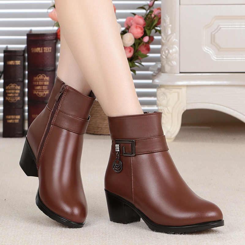 AIYUQI/2019 г. Дешевые зимние ботинки в Российской Федерации женские ботинки на высоком каблуке с шерстяной подкладкой женские ботильоны очень теплые