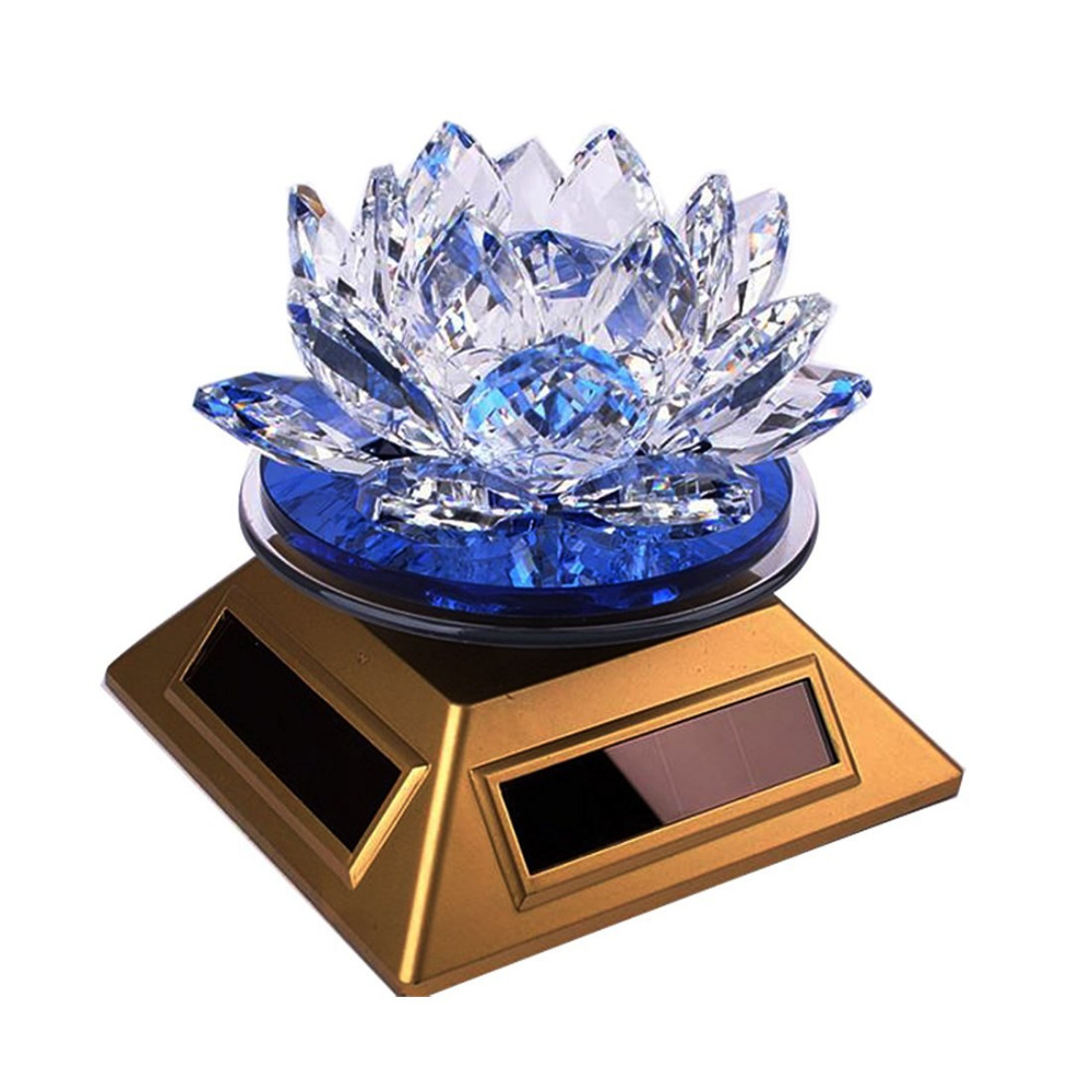 Feng Shui Crystal Lotus Flower Solar Energy Decoration Blue Green