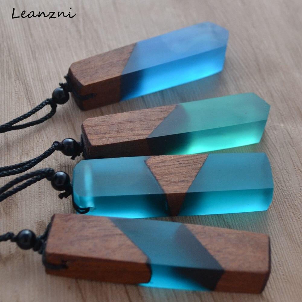 Leanzni – collier Vintage en bois et résine pour hommes et femmes, pendentif, chaîne en corde tissée, bijoux à la mode, cadeaux, meilleures ventes