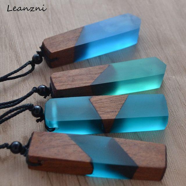 Leanzni men'woman s Do Vintage elegante colar de pingente de resina de madeira, tecido rope chain, hot-venda de jóias presentes