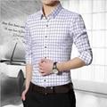 2016 новых прибыть 100% высокое качество мужские рубашки причинная полосатая клетчатые рубашки мужчин Camisa социальной Masculina сорочка M-5XL CY52