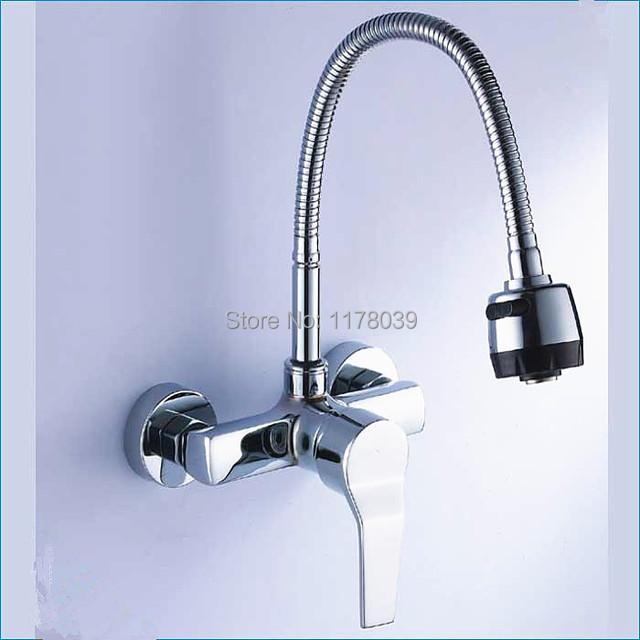 Single Handle Wall Mount Kitchen Faucet With Sprayer Universal Tube