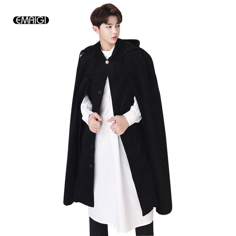 Men Autumn Winter Long Wool Hooded Cloak Windbreaker Coat Male Fashion Casual Woolen Loose Cardigan Jacket