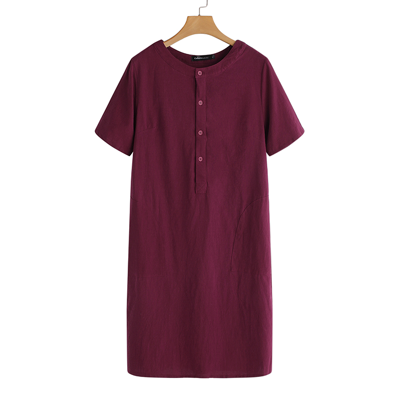 Summer Linen Dress 19 Celmia Women Tunic Top Short Sleeve Shirt Button Female Vintage Casual Sundress Sarafans Vestidos S-5XL 16