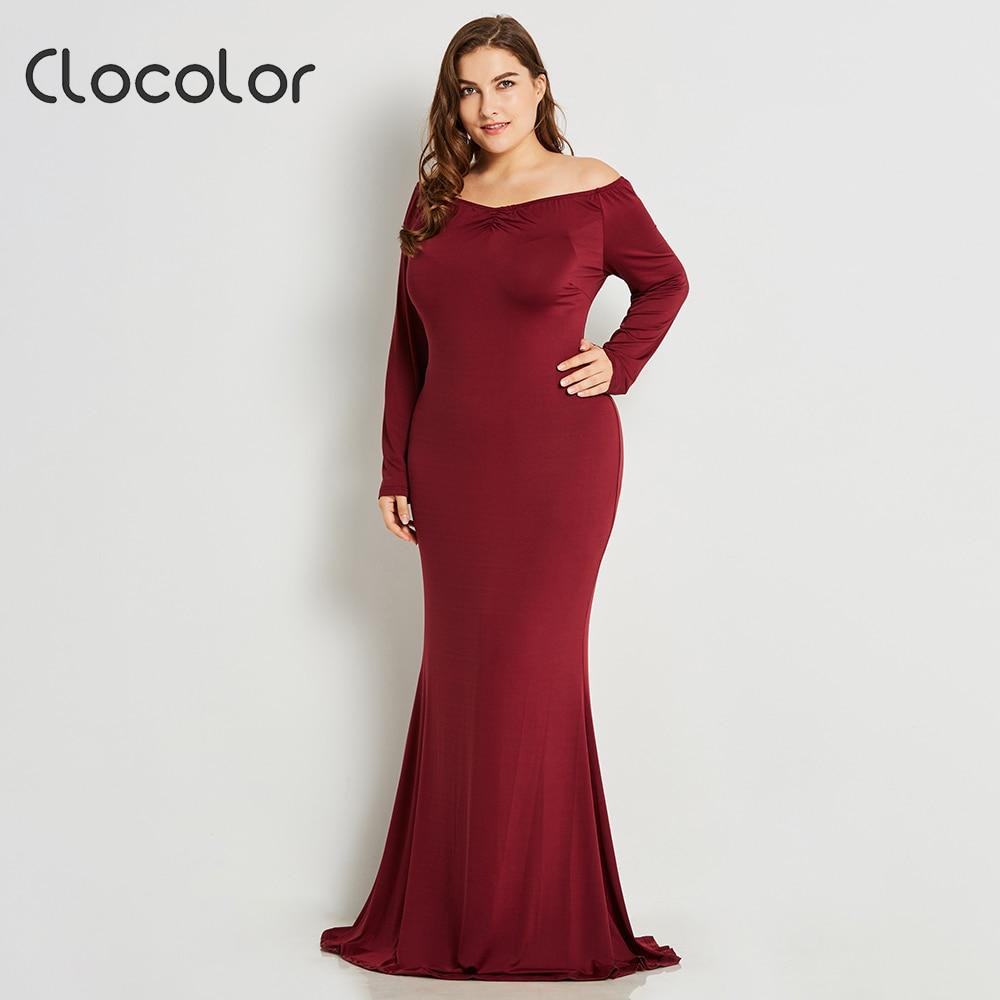 Women Plus Size Floor-length Dress Burgundy Black Rhinestone Scalloped V Neck Mermaid Dress High Waist Maxi Long Dress Elegant