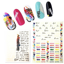 Newest Hanyi series 321 322 3d nail sticker decals letter word pattern DIY decoration for wraps