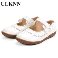 ULKNN Baby Girls Shoes Casual Pattern Leather Infant Toddler Shoes Bow Knot Cow Muscle Round Toe