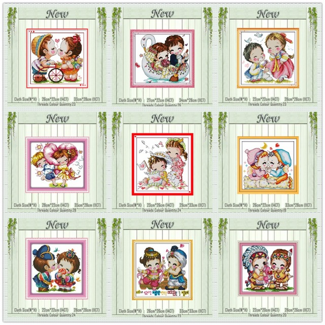 kiss wedding cartoon lovers baby angel painting counted print on canvas DMC 14CT 11CT Cross Stitch Needlework Sets Embroider kit