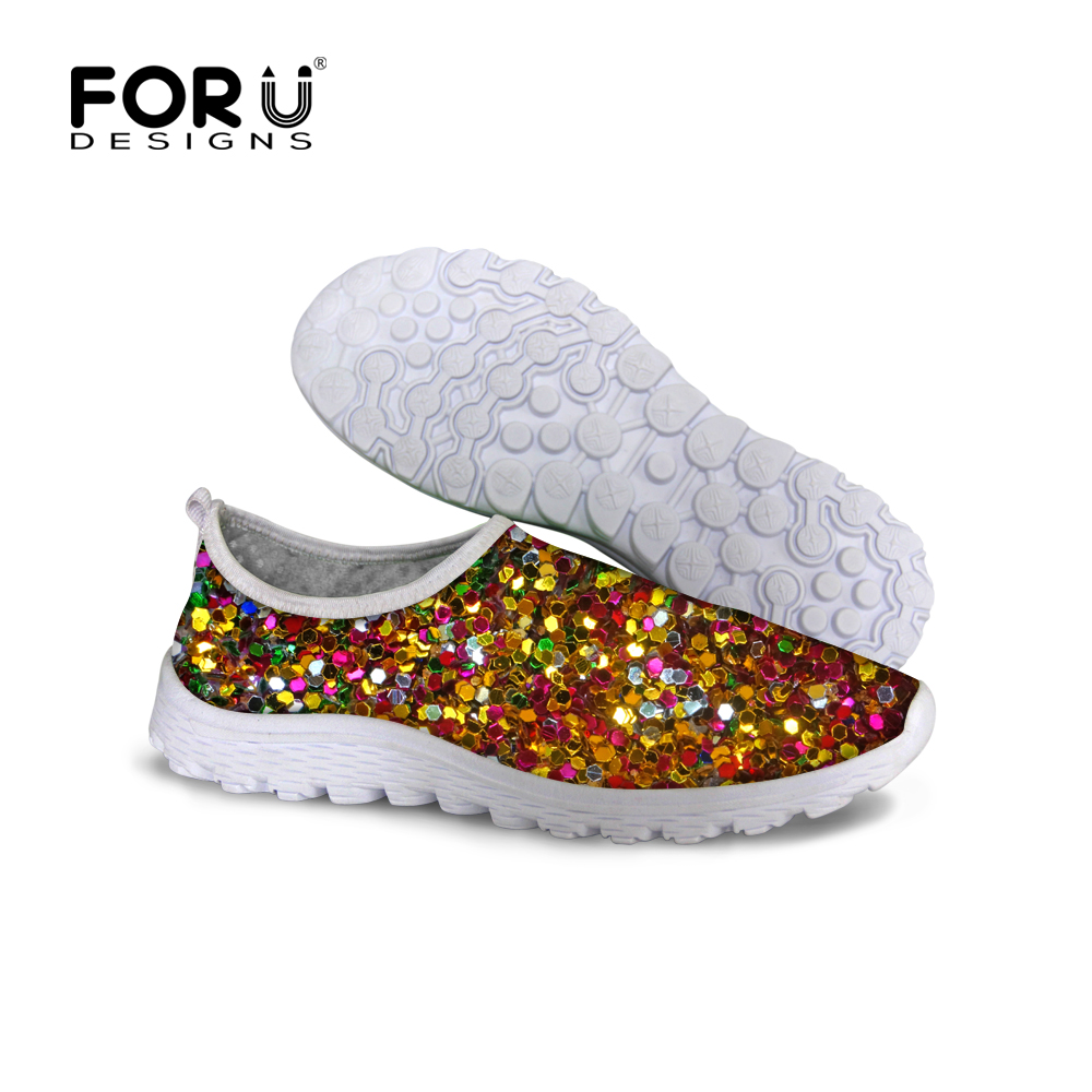 FORUDESIGNS 2018 Summer Slip-on Mesh Shoes Women Flat Shoes Fashion Sequin Print Super Light Breathable Slip-on Flats Beach Shoe instantarts women flats emoji face smile pattern summer air mesh beach flat shoes for youth girls mujer casual light sneakers