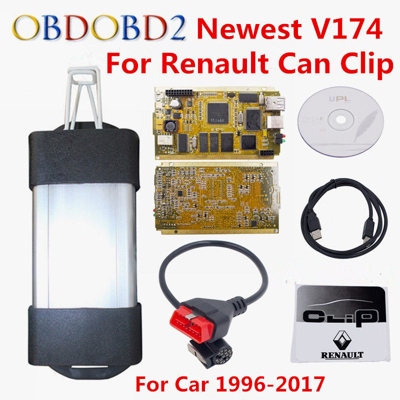 Latest V174 For Renault Can Clip Full Chip CYPRESS AN2131QC OBDII Auto Diagnostic Interface CAN Clip For Renault Code Scanner the latest test fixture sop8 pin bios clip width 8 pin universal adapter clip body clip clip burning chip