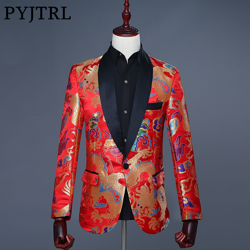 PYJTRL 2018 Mens Chinese Style Red Jacquard Embroidery