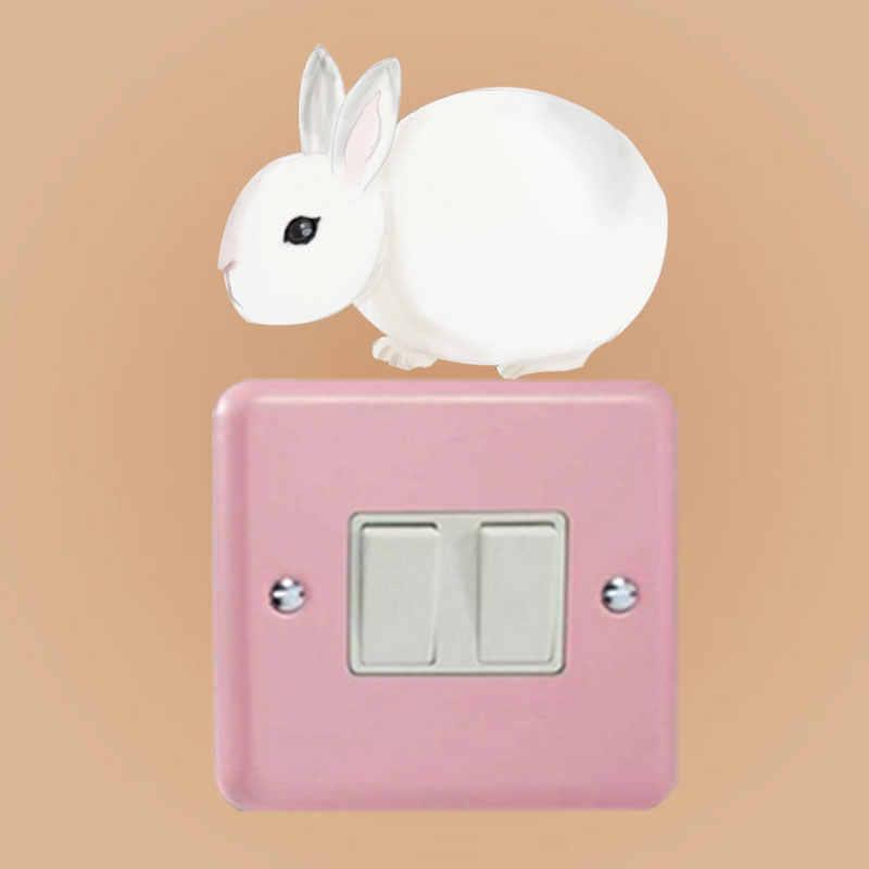 YOJA Karikatür Sevimli Hayvan Tavşan Duvar Sticker Renkli Anahtarı PVC Çocuk Odası Badroom Dekor 8SS0893