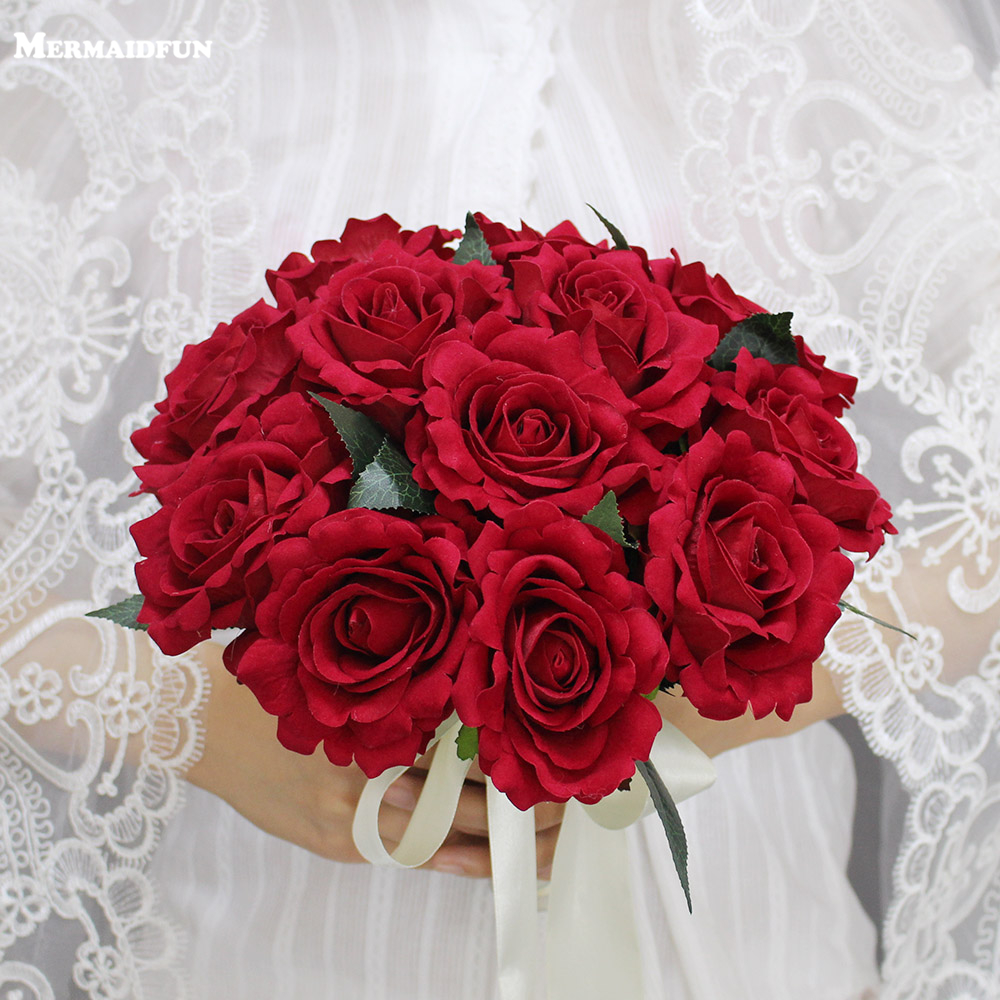 2018 Real Images Artificial Red Rose Wedding Bouquet Beautiful