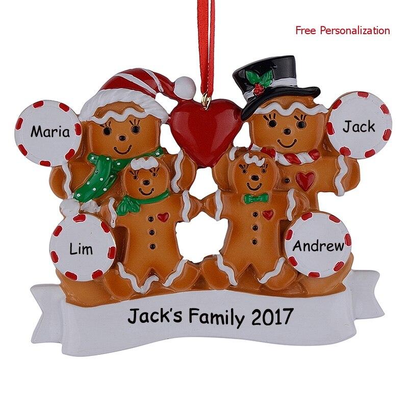 Groothandel peperkoek familie van 4 hars Kerst ornamenten met rode - Feestversiering en feestartikelen - Foto 4