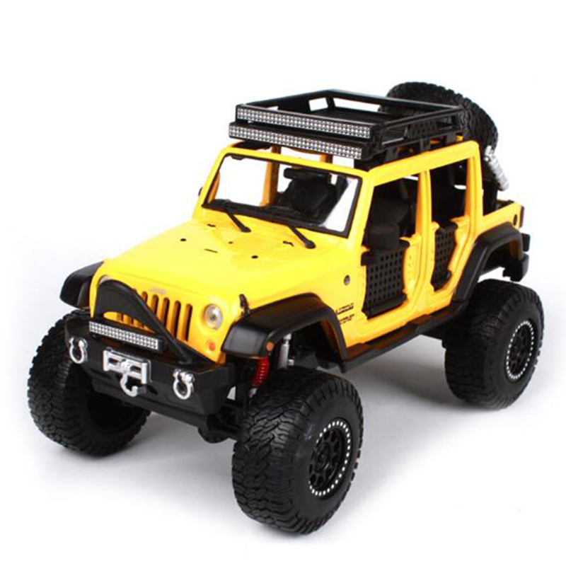 Maisto 1/24 Jeep Wrangler Unlimited Diecast Car Model Yellow/Grey/Beige Color Collectible SUV Models Gifts 1 18 scale red jeep wrangler willys alloy diecast model car off road vehicle model toys for children gifts collections