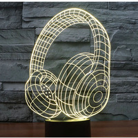 3D LED Night Light Music Headset With 7 Colors Light For Home Decoration Lamp Amazing Visualization