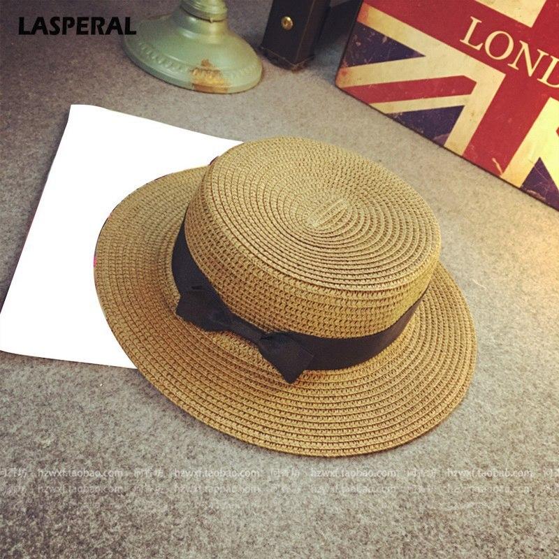 LASPERAL 2018 Classic Bowknot Straw Flat Sun Hat Women Fedora Summer Women Boater Beach Hat Female Casual Panama Hat Lady Brand