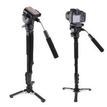 Yunteng 288 Caméra Monopode + Fluide Pan Trépied Tête + Unipod Pour Canon Nikon Caméra 3 section Extensible