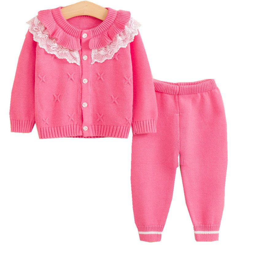 Newborn Girls Cardigan Pant Clothing Sets Baby Kids Clothes Cotton Sweater Full Sleeve Lace Knitted