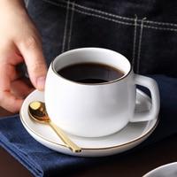 MUZITY 세라믹 커피 컵과 접시 스테인레스 스틸 304 스푼으로 흰색 안료 도자기 티 컵 세트 -