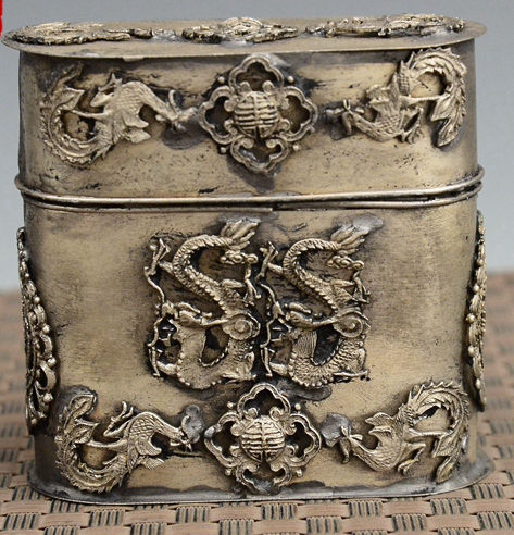 Exquisite Chinese old-style Tibetan silver Dragon Phoenix Statue Toothpick Box, Cigarettes Case