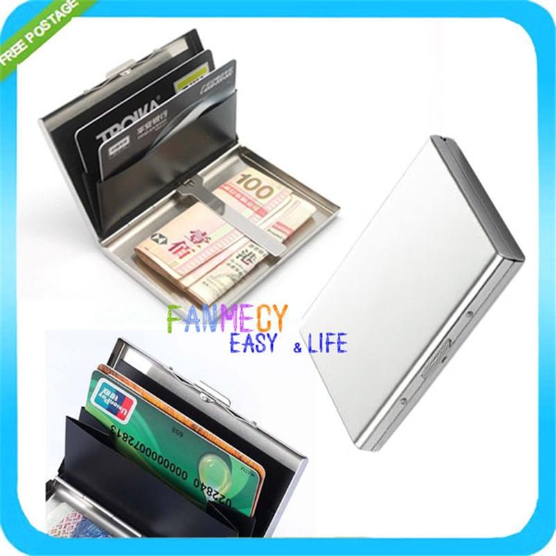 Credit Card Holder RFID Blocking Wallet Slim Wallet Genuine Leather Vintage Aluminum Business Card Holder Automatic Pop-up Card Case Wallet Security Travel Wallet 2 Box -Brown Brown