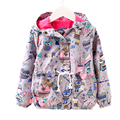 girls spring jacket 2017 new fashion baby girl spring jacket cartoon animal printed kids coat for girls hooded windproof jackets