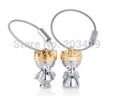 Coroa chave anel Chave de Cadeia para o Amante Casal presente de Casamento pós CN